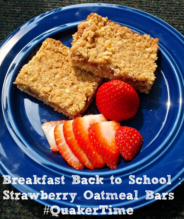 Breakfast Back to School Strawberry Oatmeal Bars #QuakerTime